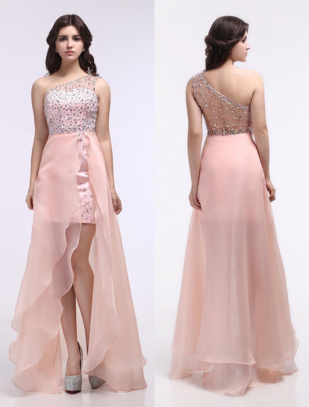 Peach Evening Dress Illusion Rhinestone Beaded Prom Dress Organza One Shoulder Asymmetrical Floor Length Party Dress