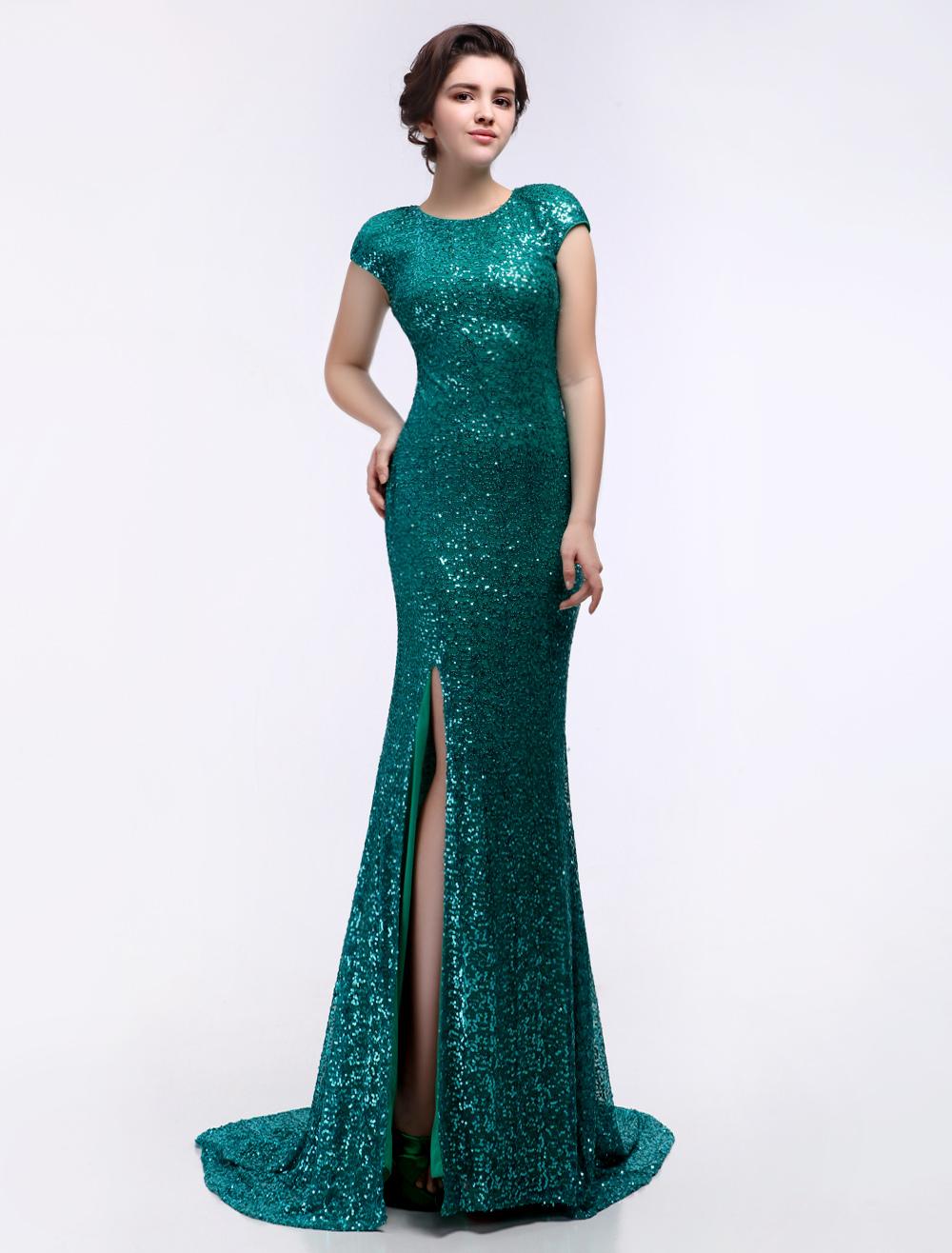 c91e8f8de96 Dark Green Sequined Split Mermaid Prom Dress - Milanoo.com