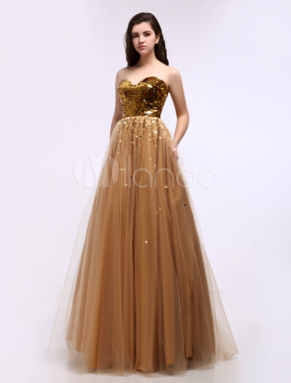Fashion Gold Sweetheart Floor Length Draped A-line Tulle Prom Dress
