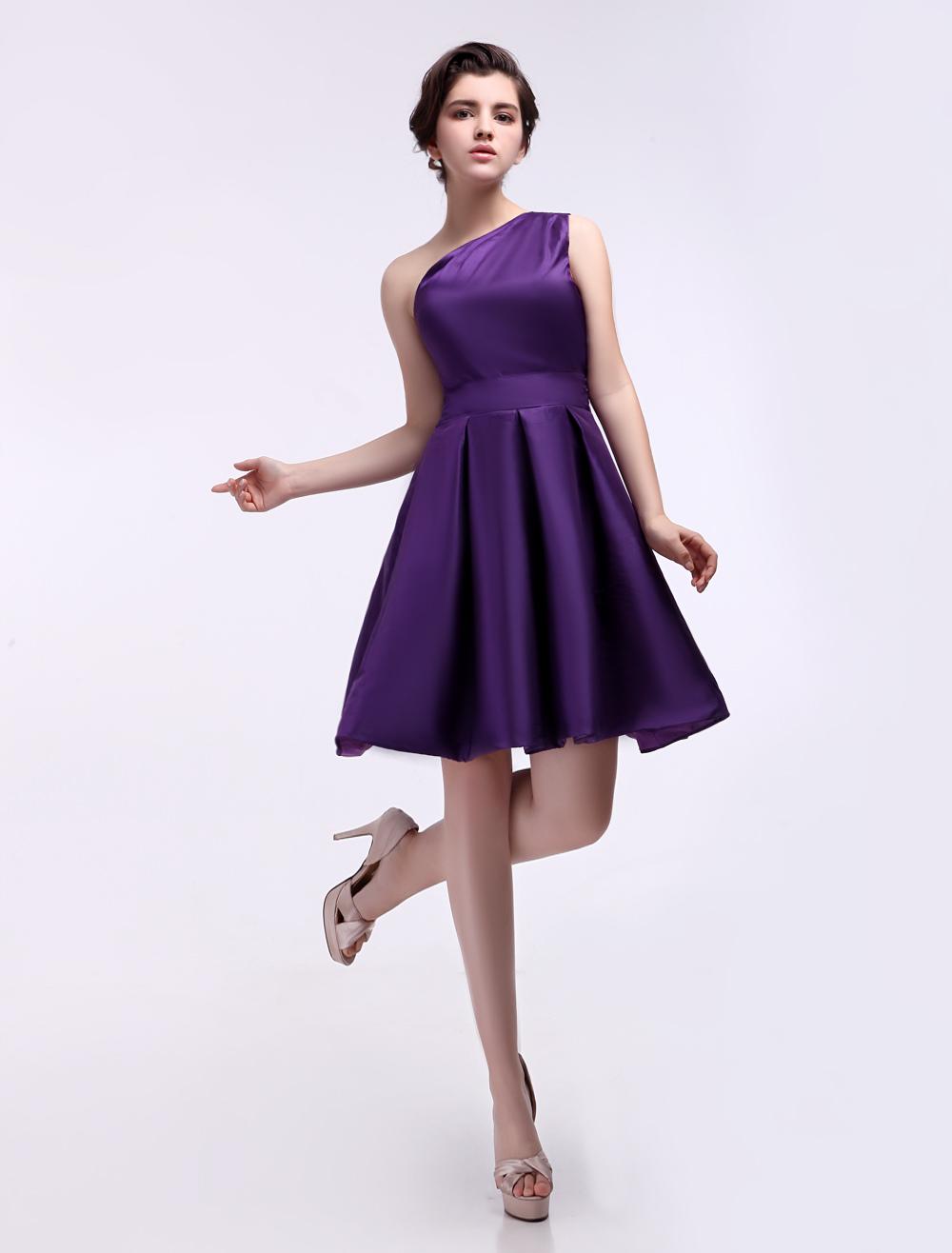 Corto vestido de damas de honor de color de uva - Milanoo.com