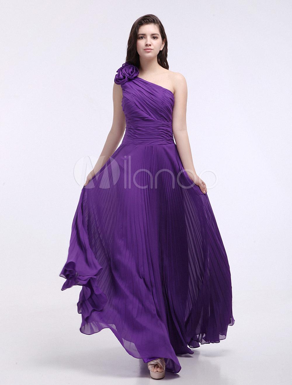 Vestido de damas de honor de chifón de color de uva de un solo ...