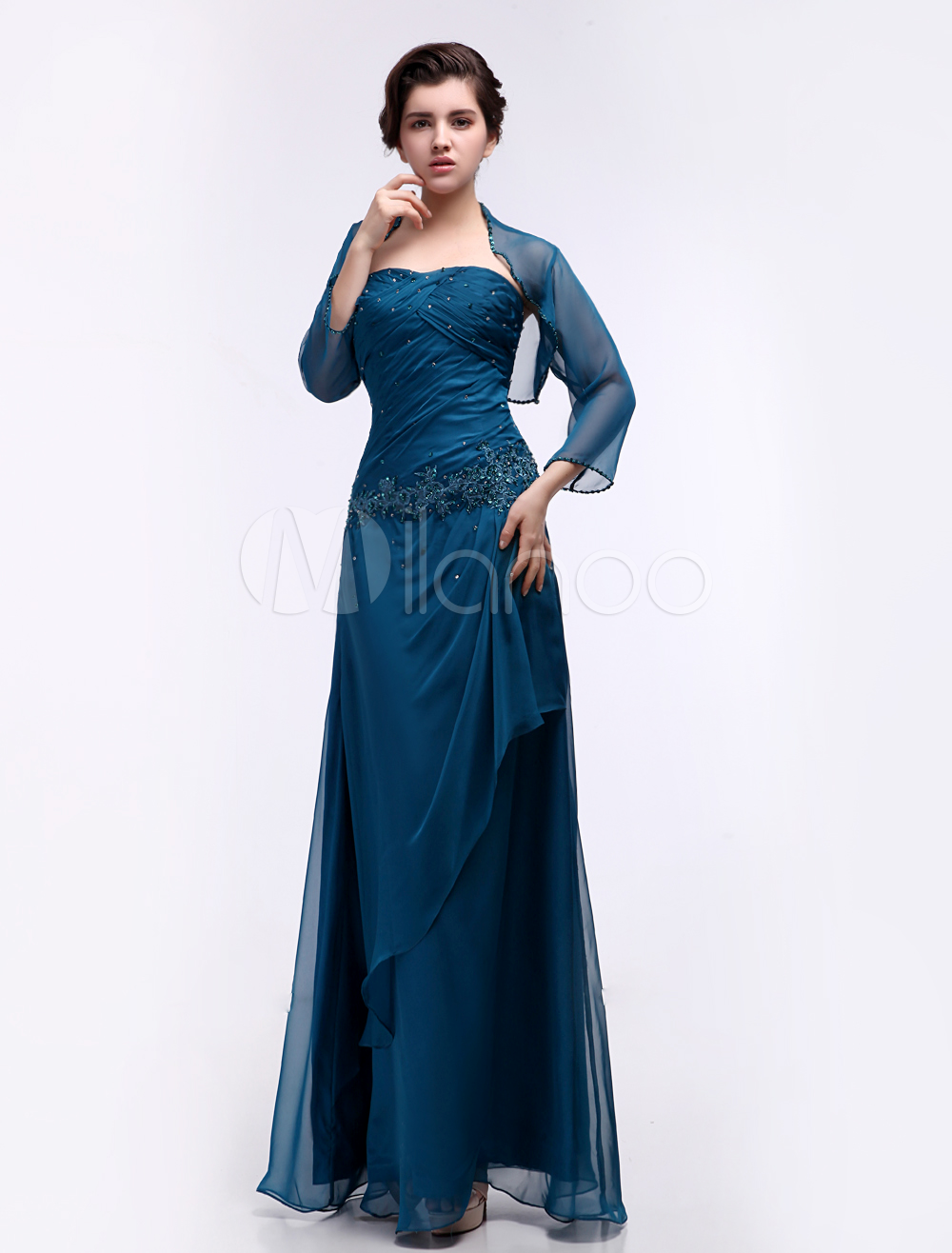 Buy Chiffon Evening Dress Ink Blue 2 Piece Mother Of The Bride Dress Sweetheart Beaded Pleated Floor Length Party Dress for $136.79 in Milanoo store