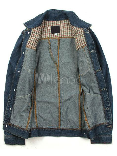 In Giubbotto Collo Con Vintage Stile Moderno Blu Largo Denim Chic q5H5fw