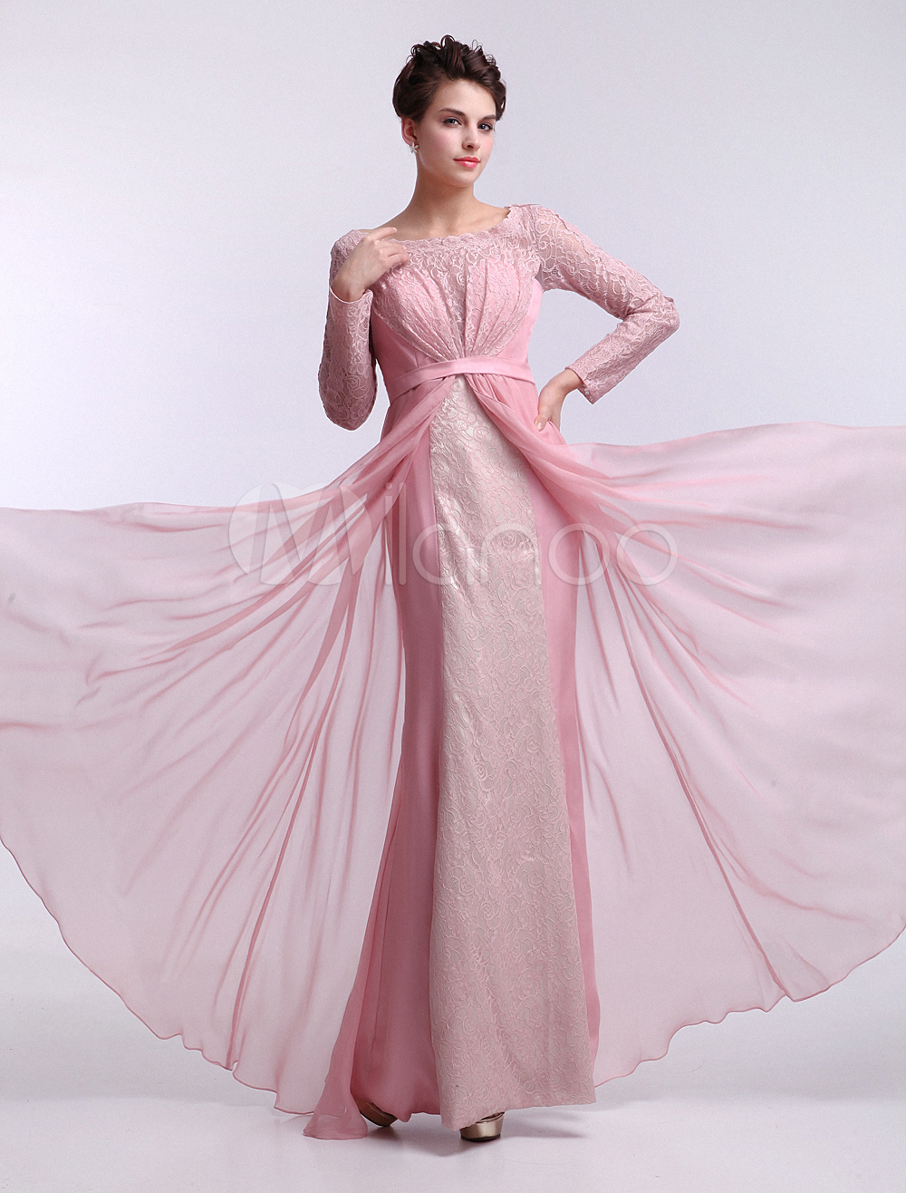 A-line Blushing Pink Floor-Length Lace Chiffon Evening Dress with Scoop Neck Long Sleeves  Milanoo