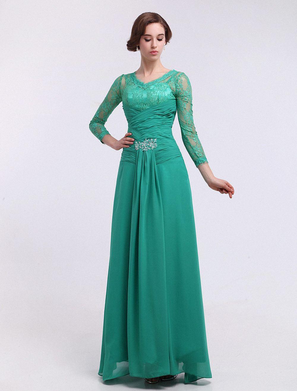 Chiffon Evening Dress Blue Green Ruched Bridal Mother Dress Lace Beaded V Neck Long Sleeve A Line Floor Length Party Dress Milanoo