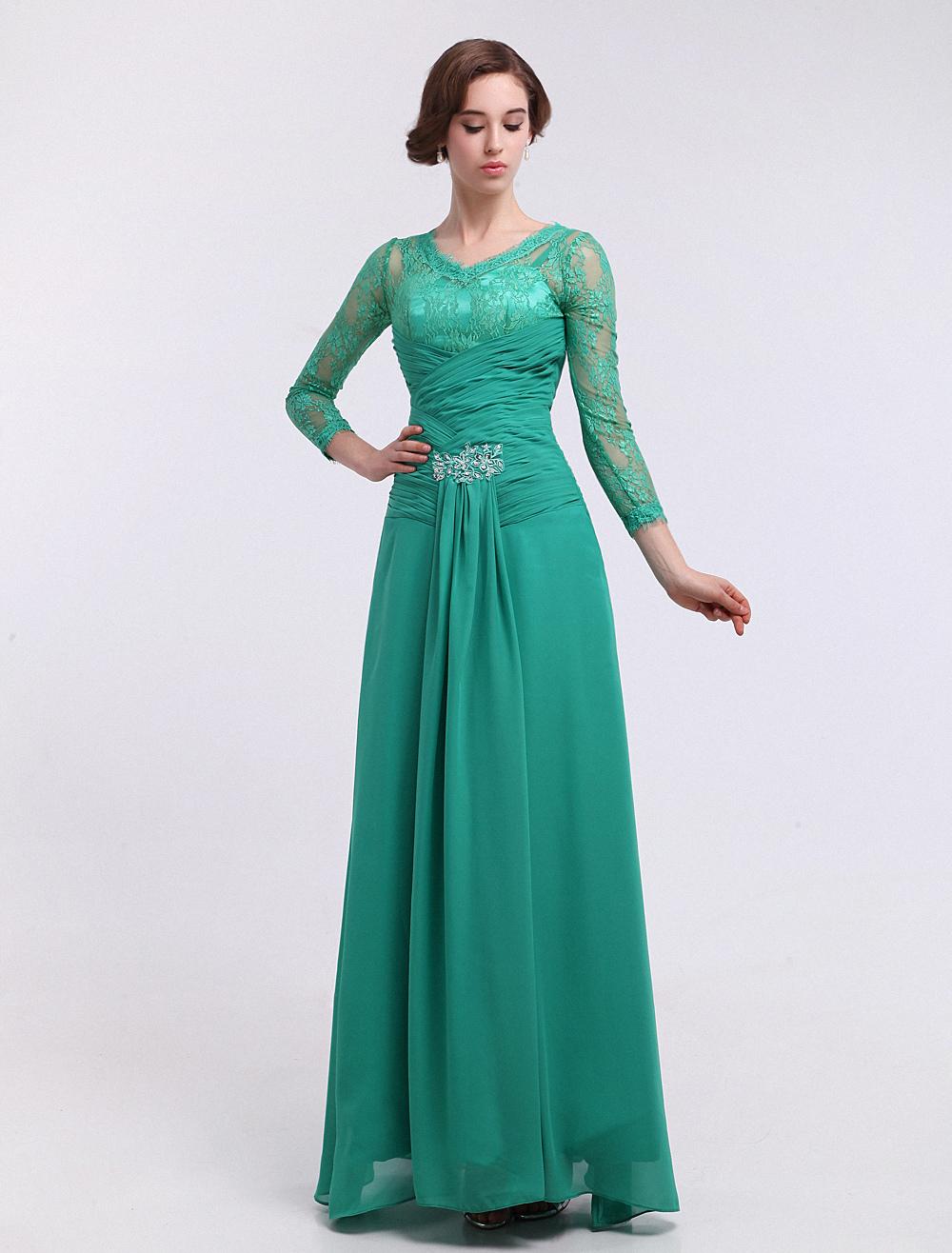 Vestido para la madre de los novios de chifón verde marino con ...