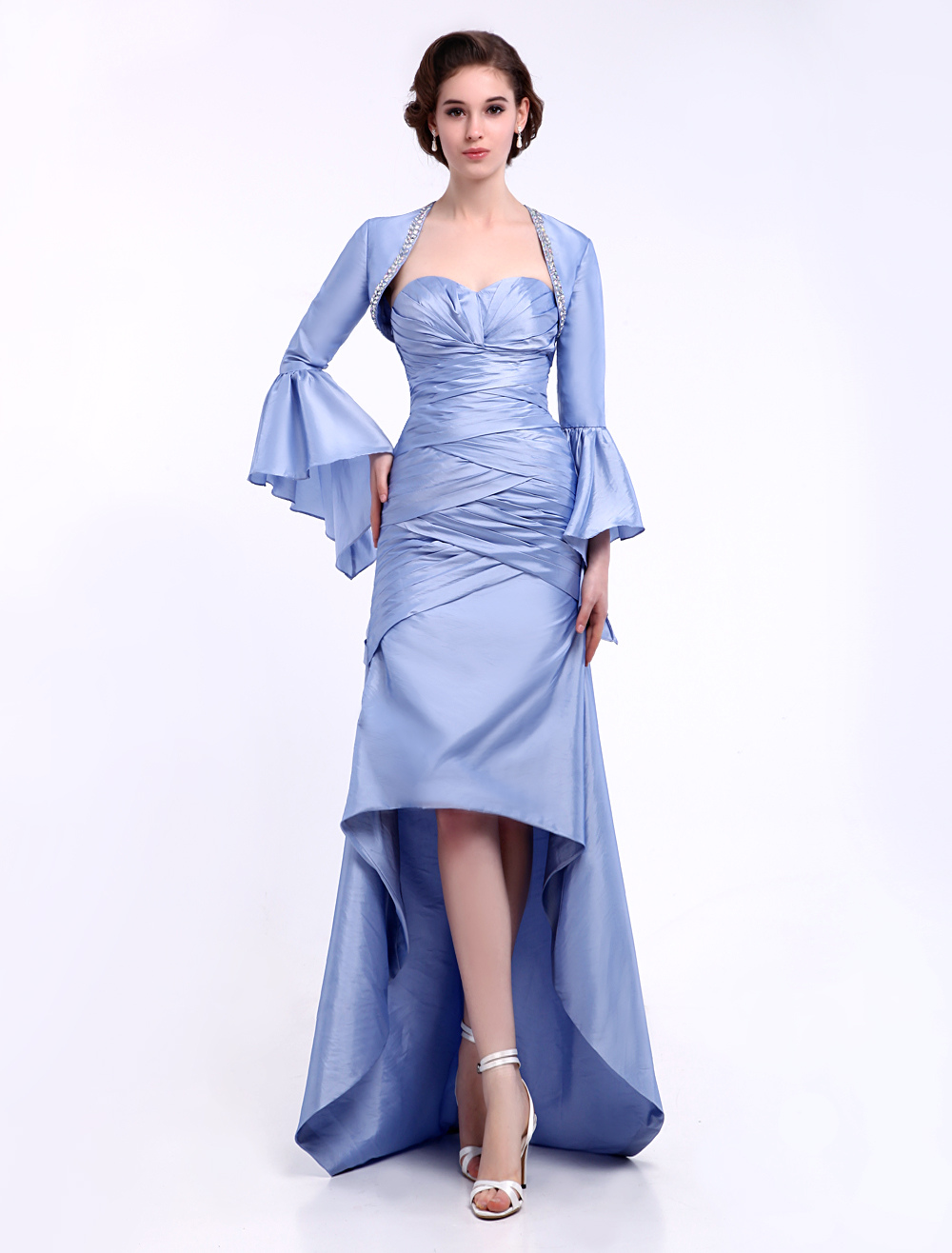 Buy Baby Blue Evening Dress Ruched 2 Piece Mother of the Bride Dress Sweetheart A Line High Low Party Dress Milanoo for $129.99 in Milanoo store