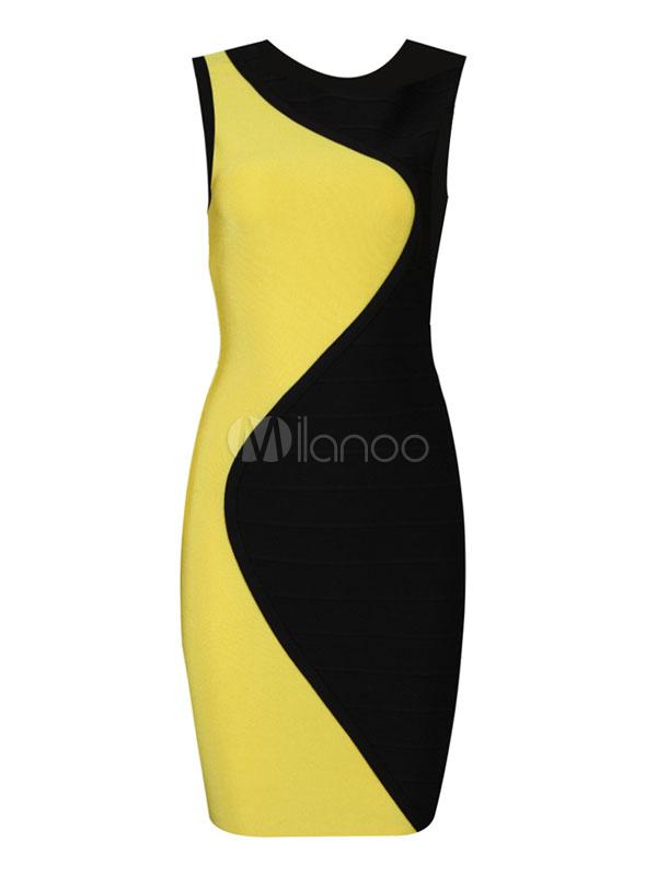 Etuikleid gelb schwarz