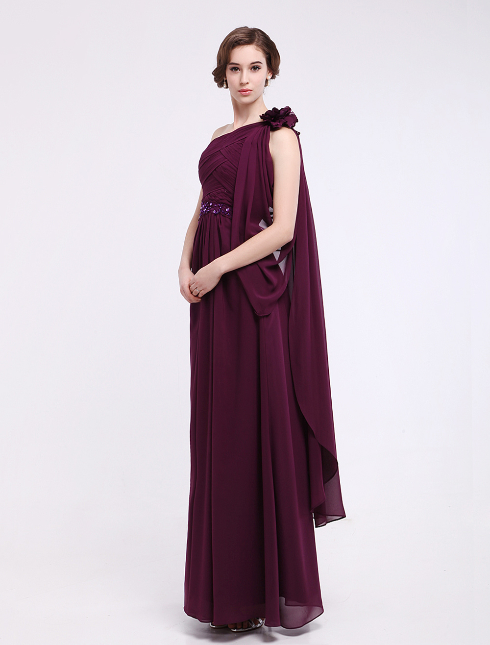 Buy Burgundy A-line One-Shoulder Ruched Chiffon Mother of the Bride Dress Milanoo for $159.27 in Milanoo store