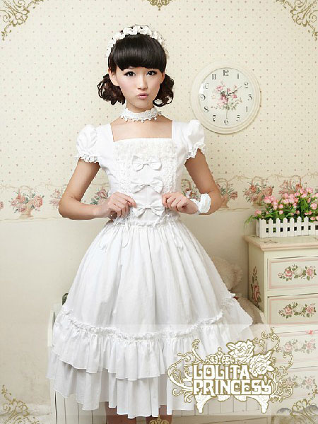 Buy Pure Cotton Sweet Loltia One-piece Dress Square Neck Bows Layers Ruffles for $89.99 in Milanoo store