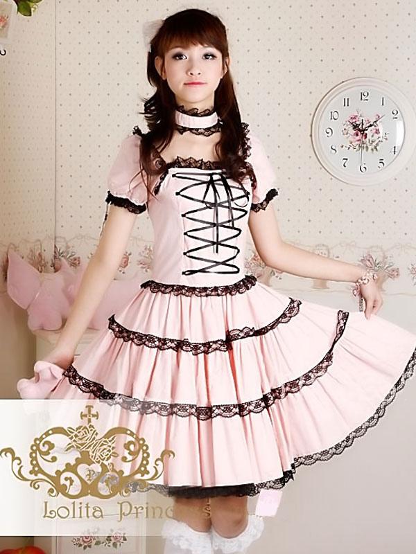 Sweet Lolita Dress OP Princess Pink Tiered Lace Cotton Lolita One Piece Dress