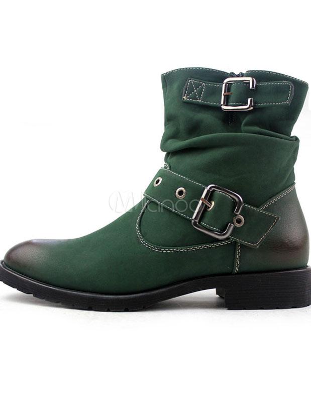 bcd9cc04f6c ... Cremallera verde hebilla cuero señaló botas de hombre de moda del dedo  del pie -No ...
