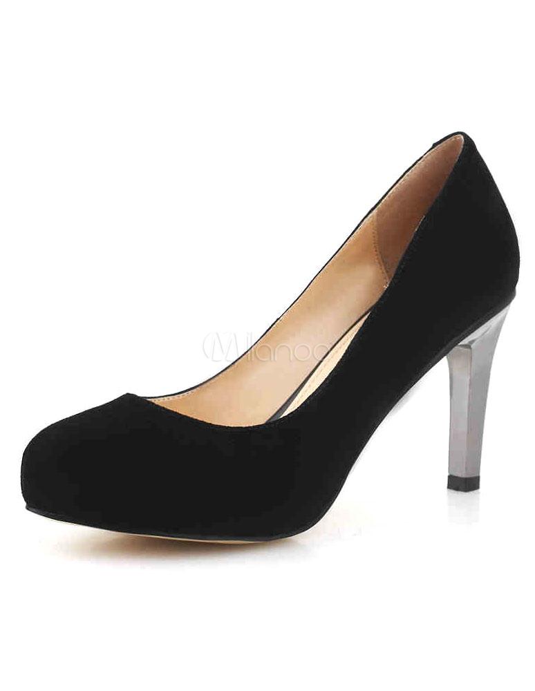Zapatos de tacón de piel de carnero de color negro RYaccgc2