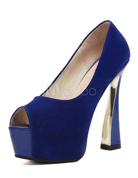 timeless design e0567 a1eaa Scarpe con la punta aperta chic moderne blu con tacco largo da 13.5cm per  le feste
