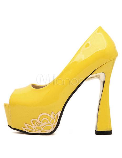 d725232d5c839 ... Scarpe con la punta aperta chic moderne gialle metalliche con tacco  largo da 13.5cm per ...