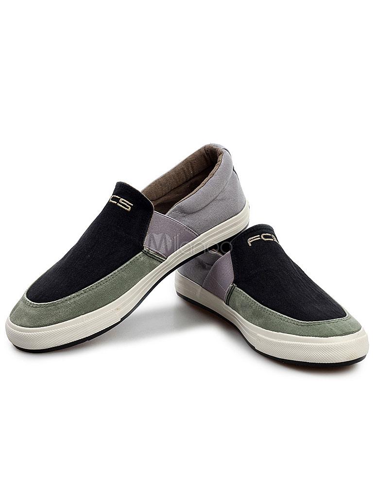 bf3bb85c9 ... Bloco de cor confortável pano preto redondo sapato sapatos Toe masculino  -No.4 ...