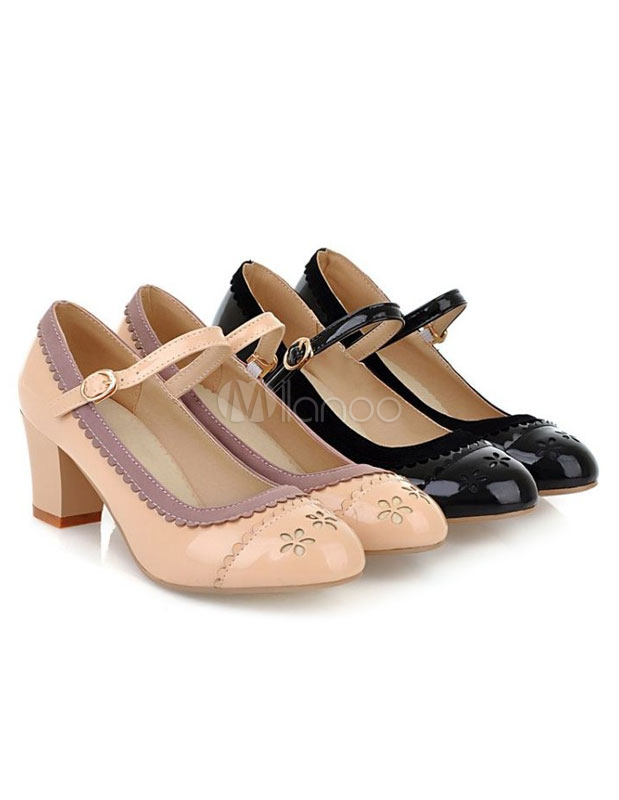 Barroco Hebilla Zapatos Con Tacón Estilo Medio De STYOwqR