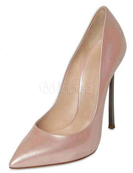Buy Attractive Pink Stiletto Heel PU Leather Womens Pointy Toe Shoes for $59.39 in Milanoo store