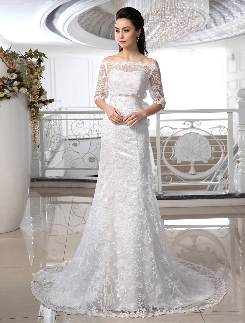 Ivory Wedding Dress Off-the-Shoulder Mermaid Lace Wedding Gown
