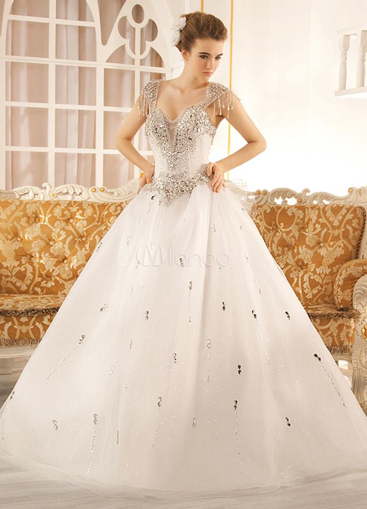 Robe de mariage exquise A,ligne en tulle blanc avec strass col V longueur  plancher