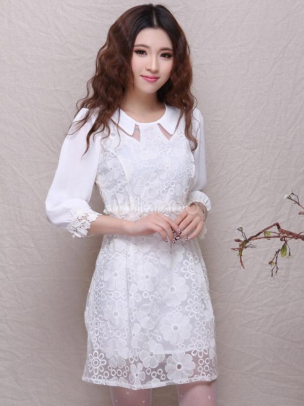c477ab13d ... Blanco cuello Peter Pan 3 4 vestido de mangas de encaje hermosa  Camiseta Cool ...