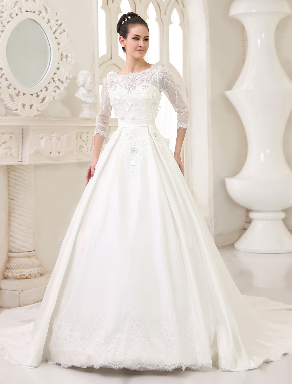 Glamour Ivory A-line Scoop Neck Flower Chapel Train Bridal Wedding Gown  Milanoo