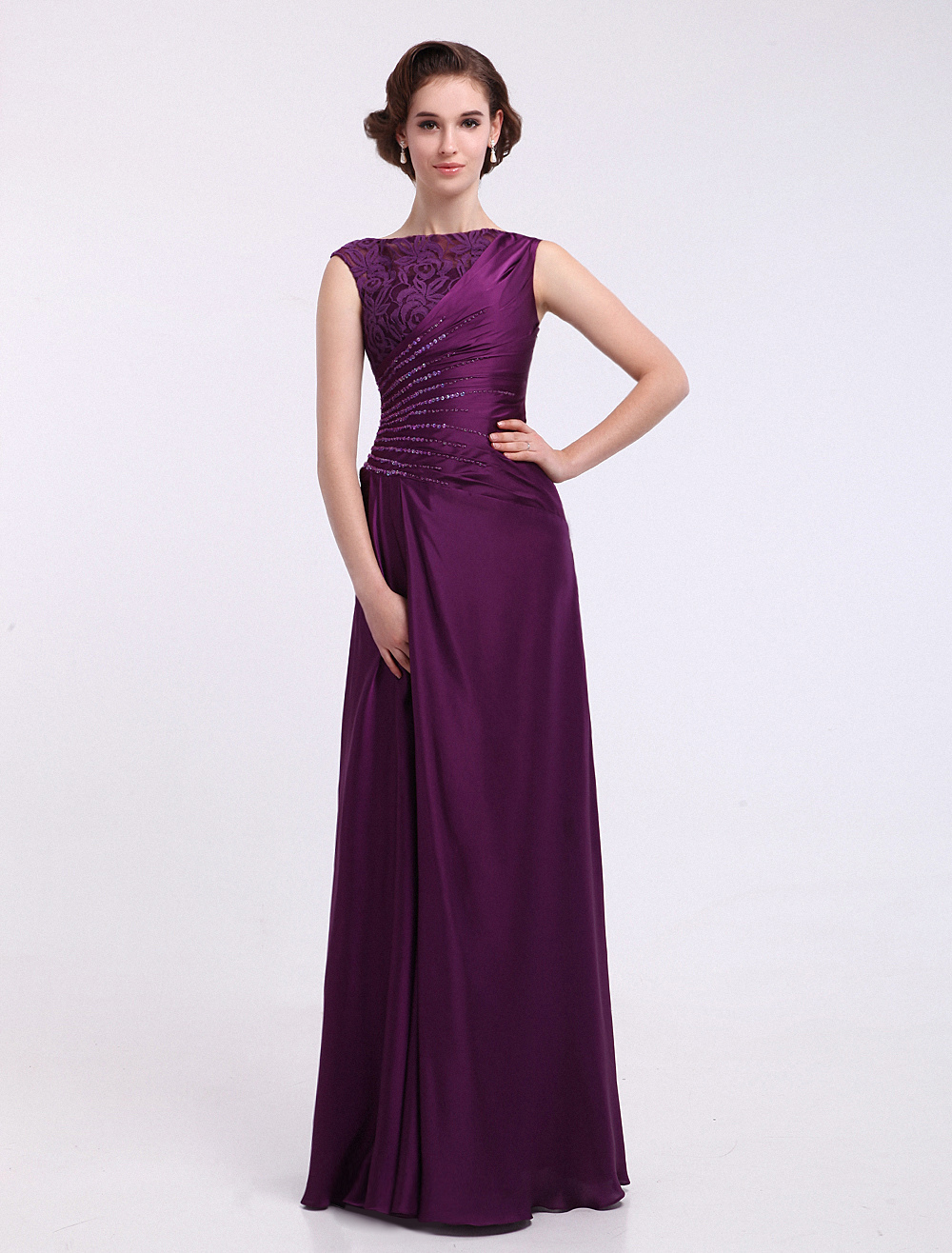 Grape A-line Jewel Neck Ruched Sleeveless Satin Dress For Mother of the Bride  Milanoo