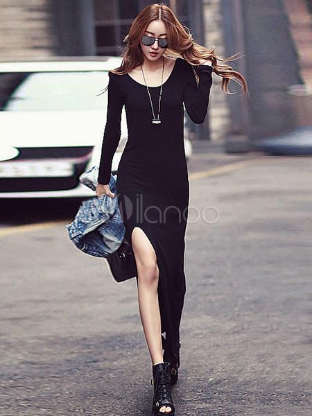 Molto Vestito lungo nero chic moderno monocolore con scollo rotondo  RQ86
