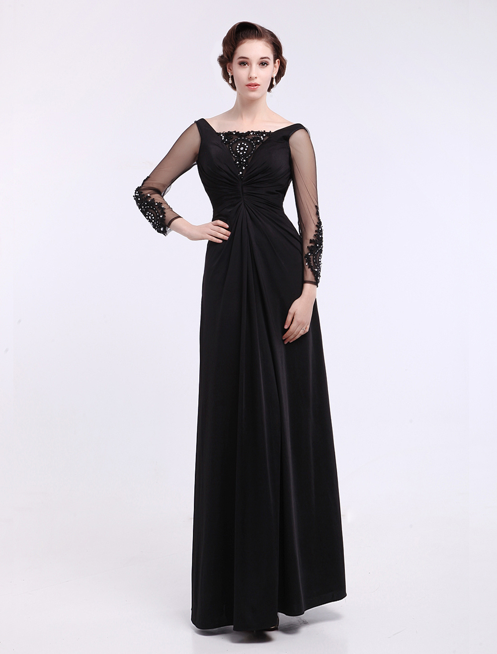 Black A-line Ruched Long Sleeves Beautiful Fashion Dress For Mother of the Bride Milanoo