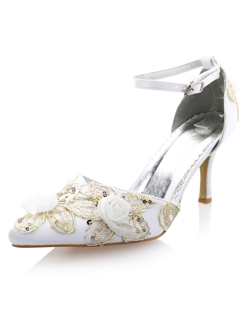 Buy Beautiful White Imitated Silk Sequin Pointed Toe Pumps For Bride for $47.49 in Milanoo store