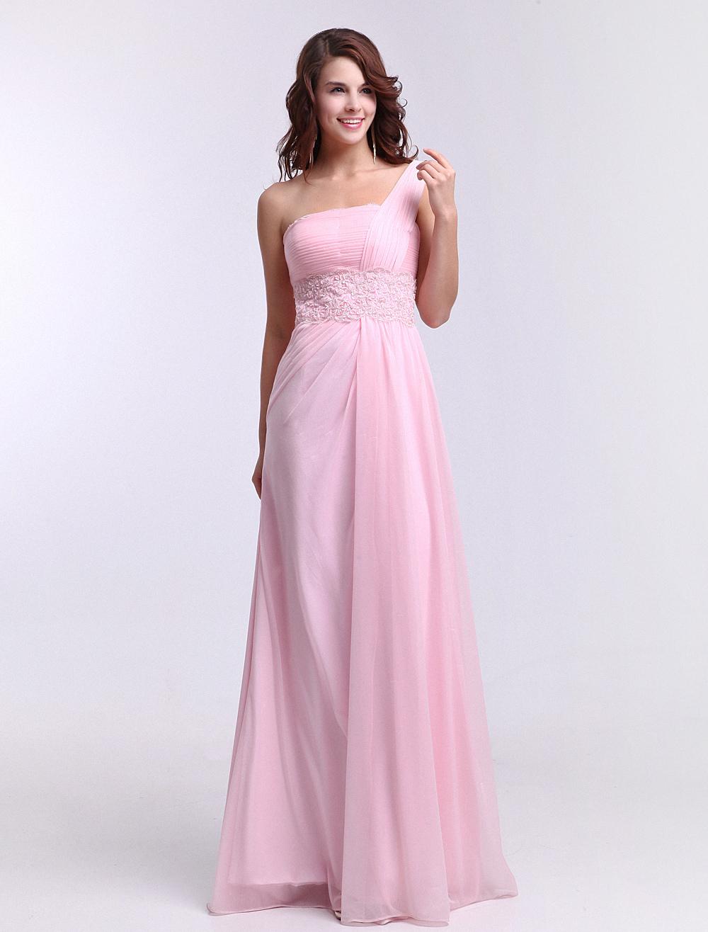 One-Shoulder Ruched Shot-silk Pink Elegant Bridesmaid Dress Milanoo