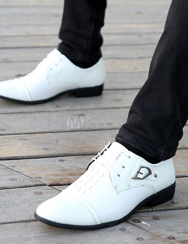 PU Calidad señalado de zapatos para encaje cuero dedo vestir blanco hombre No de w4aIr4