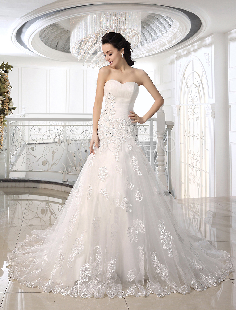 Buy Strapless Wedding Dresses Mermaid Lace Applique fishtail Bridal Gown Rhinestones Dropped Waist Court Train Bridal Dress for $228.94 in Milanoo store