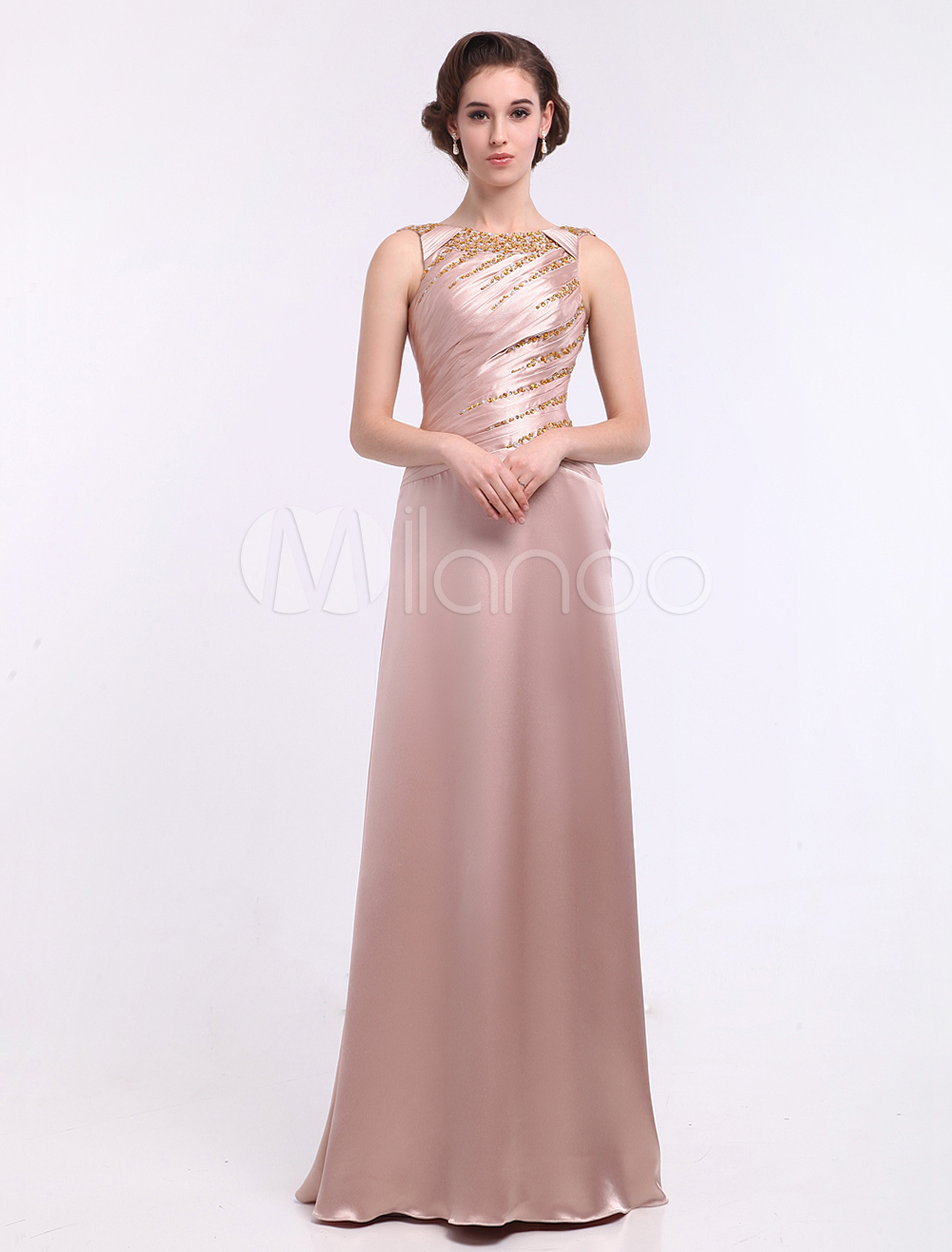 Buy Nude Sheath Jewel Neck Ruched Backless Elastic Silk Like Satin Mother of the Bride Dress Milanoo for $144.89 in Milanoo store