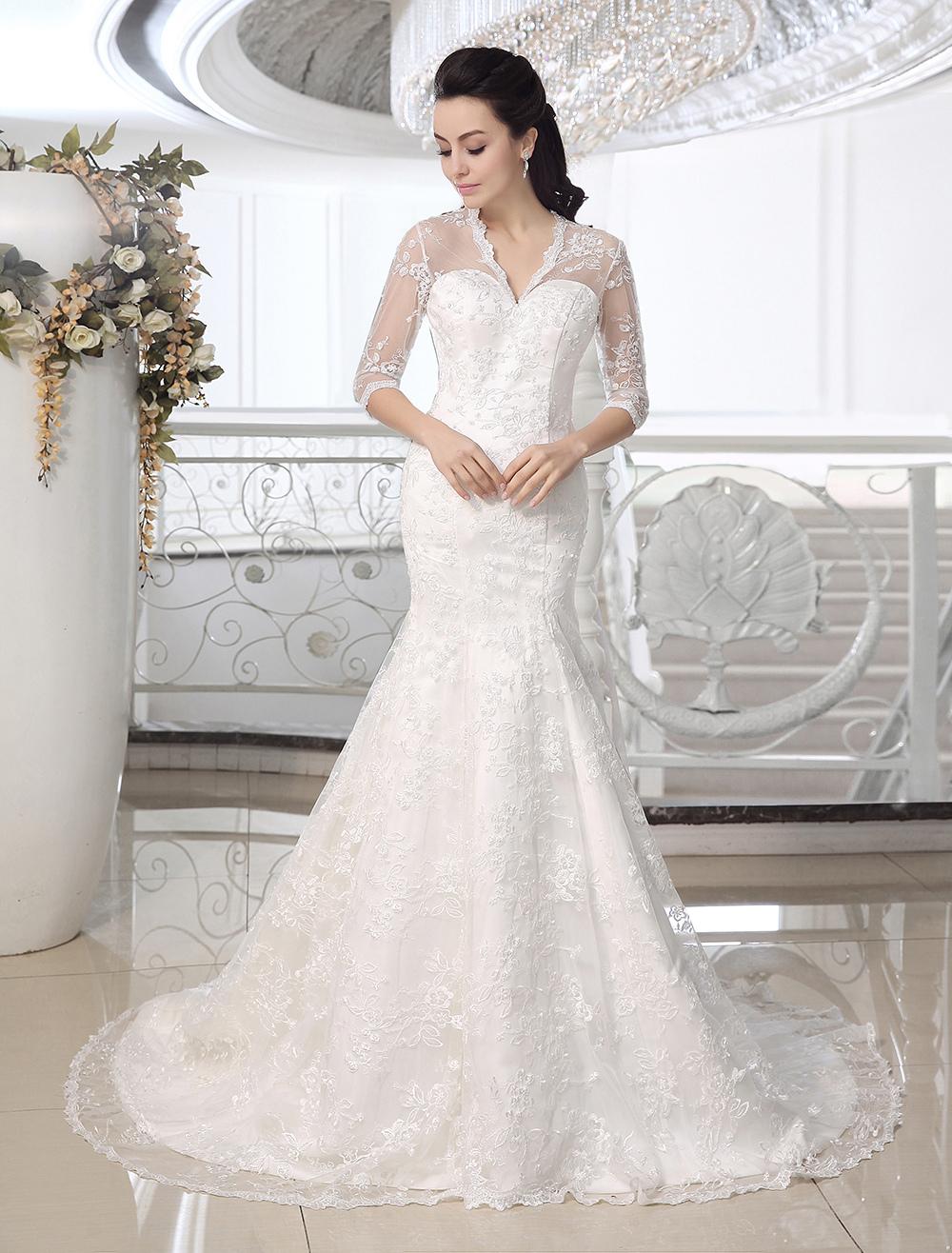 Ivory Mermaid V-Neck Lace Court Train Bridal Wedding Dress