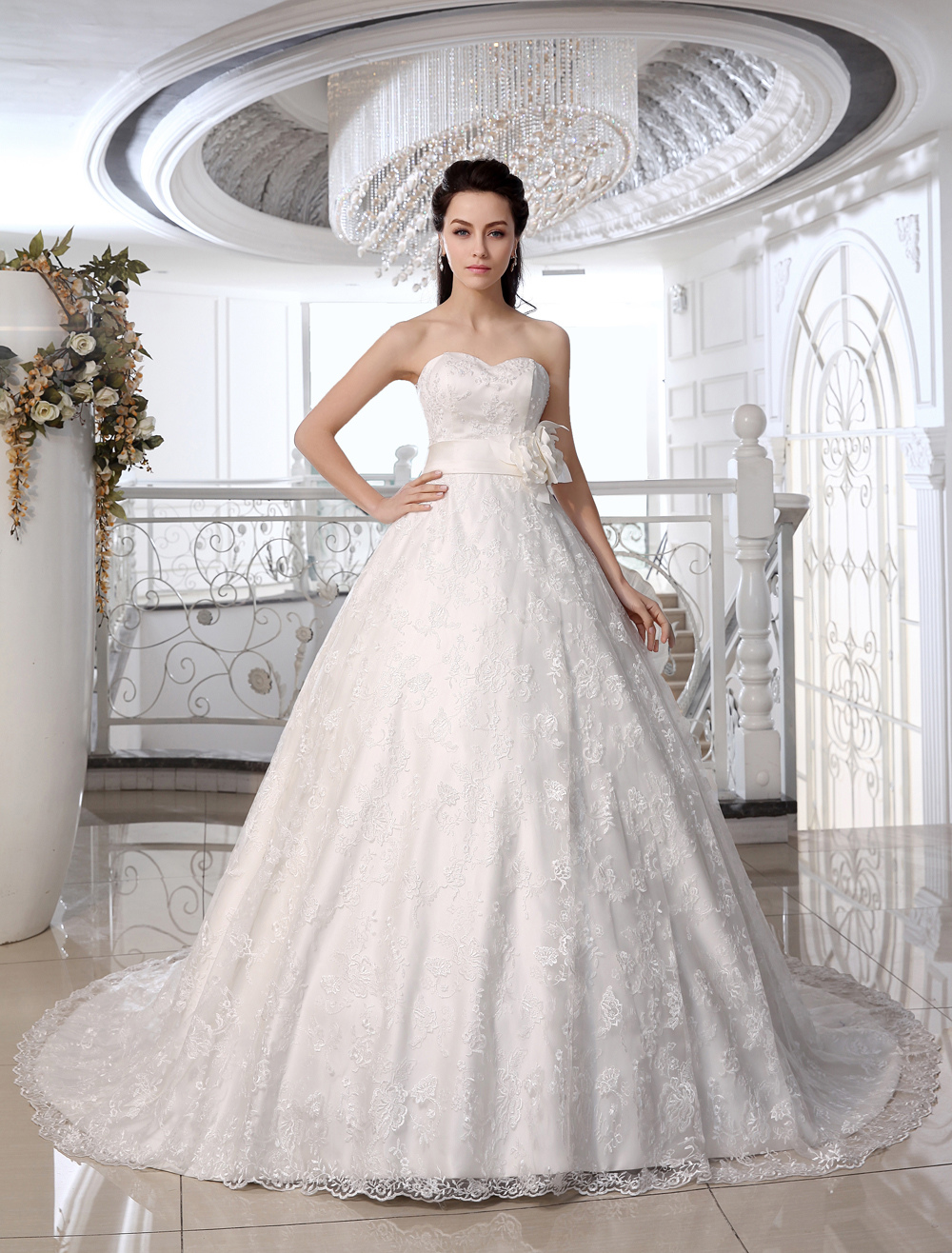 Buy Lace Wedding Dresses Strapless Ivory Ball Gown Bridal Dress Sweetheart Neck Beading Flower Sash Court Train Wedding Gown for $179.99 in Milanoo store
