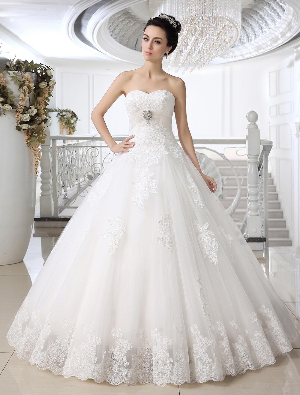 robe de mari e boule en tulle blanc avec perles encolure