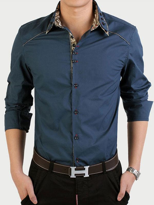 nuovo arrivo ca947 e756c Camicia da uomo elegante stampato monocolore con maniche lunghe in cotone  da lavoro per la primavera