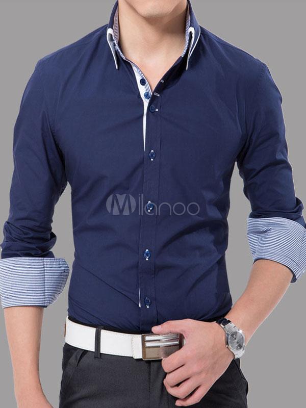 outlet store sale d42dd 059b6 Camicia da uomo elegante monocolore con maniche lunghe in cotone da lavoro  per la primavera