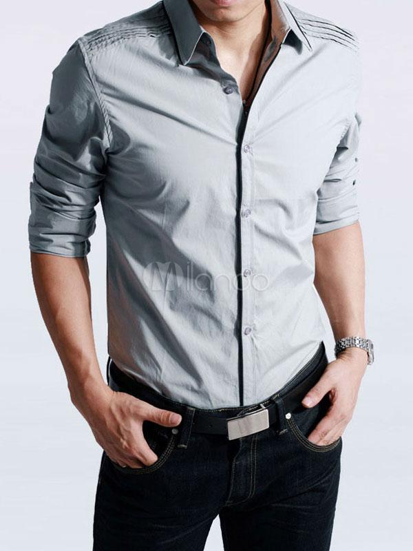 selezione migliore ee7a6 025dc Camicia da uomo elegante chic moderna monocolore a pieghe con maniche  lunghe in cotone per la primavera