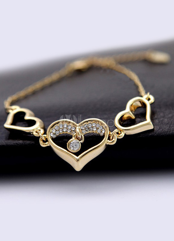 884d1511d518 Corazón de oro Rhinestone redondo Metal brillante con encanto pulsera para  mujer