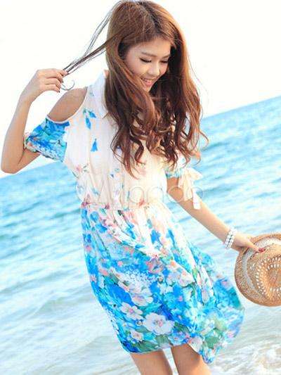 bc83a6cc03 Vestido corto de chifón con estampado floral de estilo dulce-No.1 ...