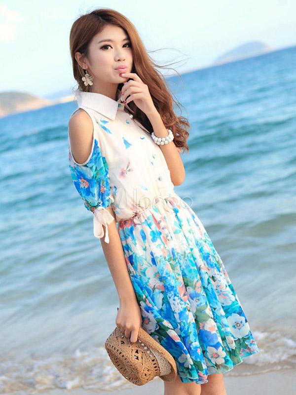 e06cf355b9 ... Vestido corto de chifón con estampado floral de estilo dulce-No.2 ...
