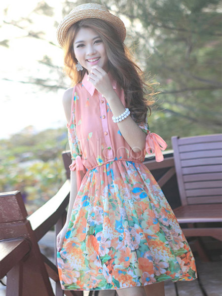 076a0aa10d ... Vestido corto de chifón con estampado floral de estilo dulce-No.4 ...
