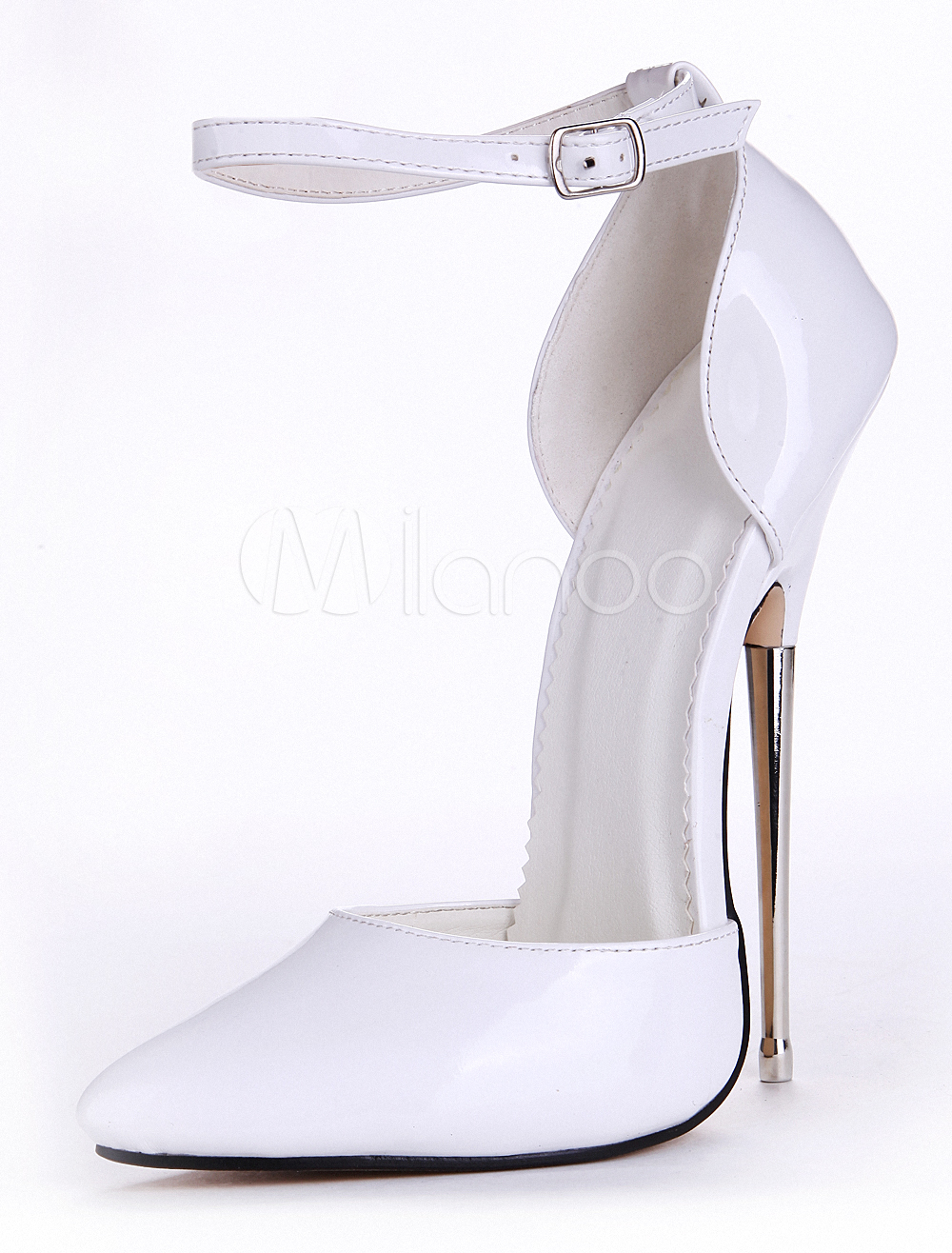 White Buttons Pointed Toe Patent PU Ankle Strap Sexy Pumps