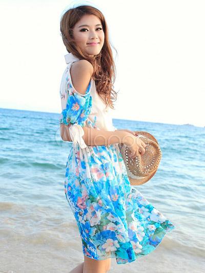 36bffc9c7e ... Vestido corto de chifón con estampado floral de estilo dulce-No.3 ...