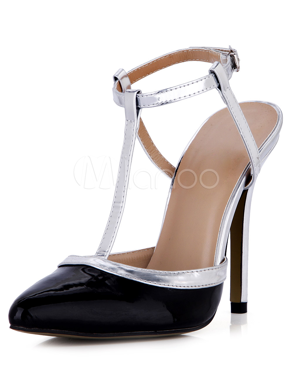 Buy Sexy Black Stiletto Heel Patent PU Womens Pointy Toe Shoes for $55.99 in Milanoo store
