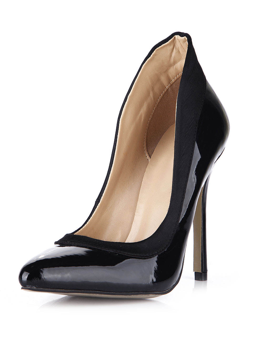 Buy Popular Black Stiletto Heel Patent PU Womens Pointy Toe Heels for $56.04 in Milanoo store