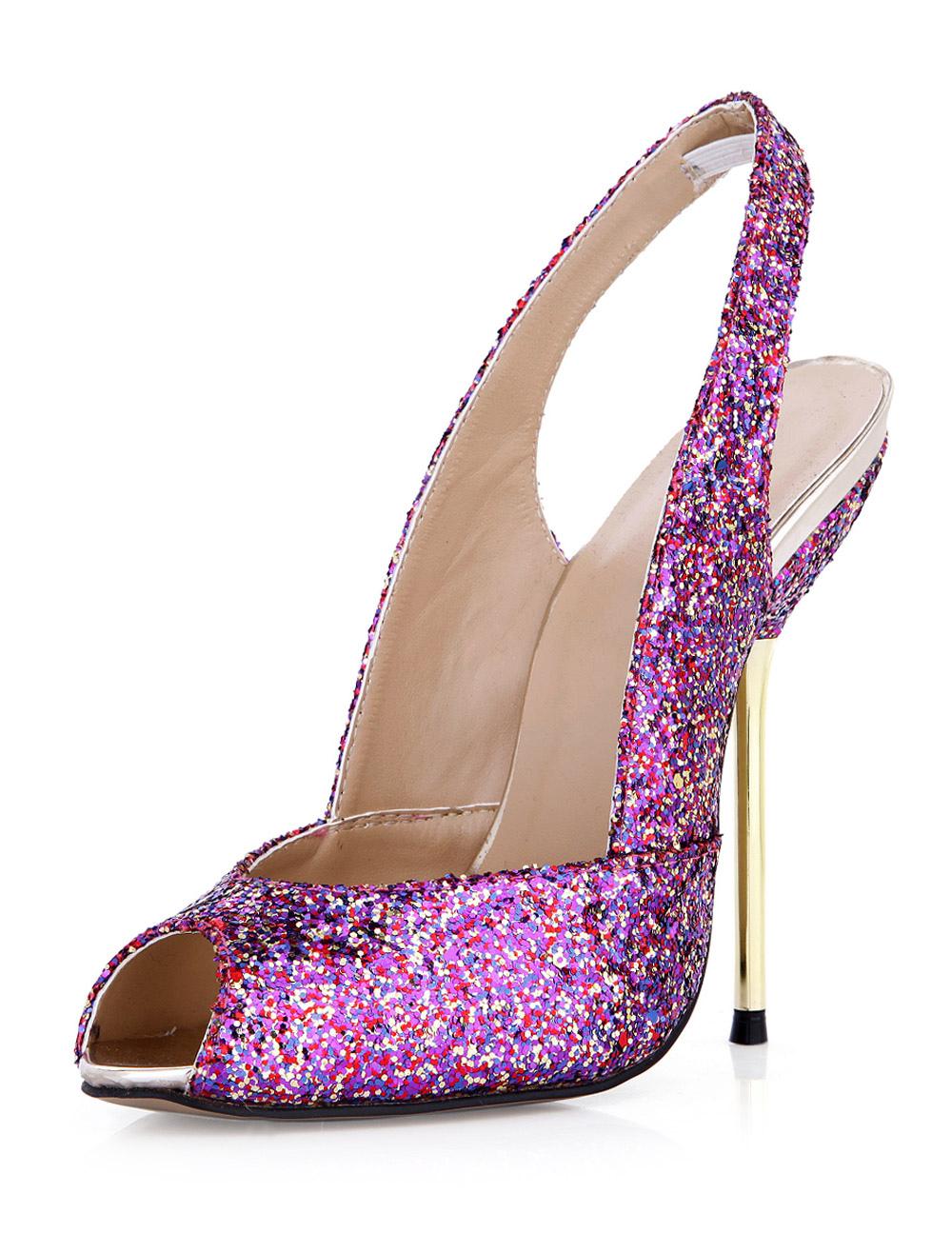 High Heel Sandals Fuchsia Peep Toe Slingbacks Sandal Shoes Women Dress Shoes
