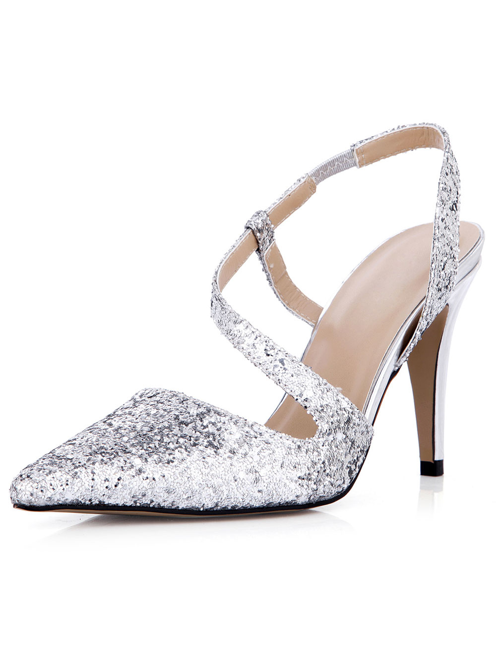 Buy Charming Silver Stiletto Heel Sequined Cloth Womens Pointy Toe Heels for $39.99 in Milanoo store